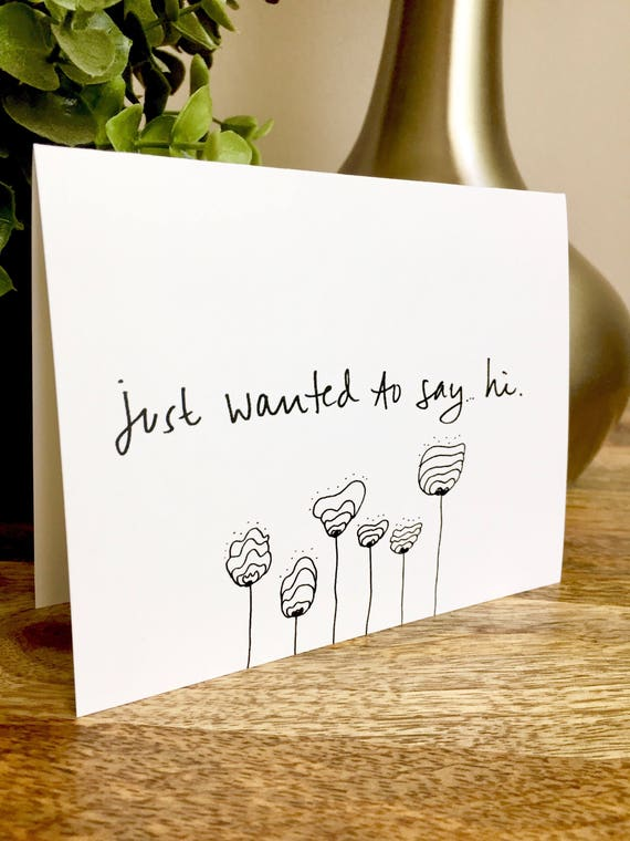 hi notecards, Just Saying Hello Card, Hello Cards, Hand Lettered Thank You Card Set, Bulk Note Cards, hello stationery