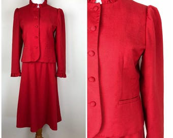 Vintage Womens 1980s Sassoon Red Matching Two Piece Skirt and Ruffle Jacket Suit Set | Size S/M