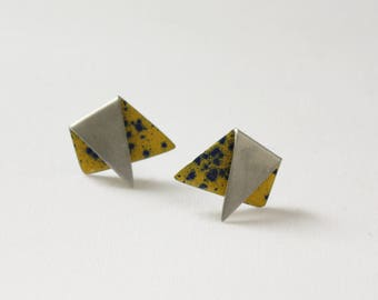 custom colour // stud earrings // geometric // large // Triangle // pewter // silver // industrial // minimalist // anniversary gift
