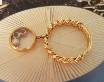 18K Gold Charm Ring with Floating Gemstones Size 6