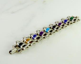 """Multi hued Inlay Sterling Bracelet 6 3/4"""""""