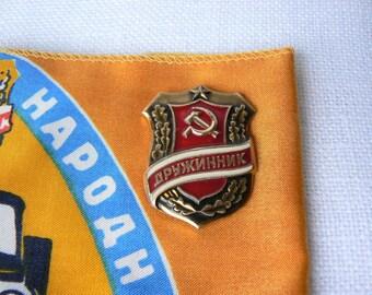 ARMBAND & BADGE Volunteer Vintage/ Russian Soviet Time Armband Volunteer Druzinnik/ Badge Volunteer/ USSR 1970s