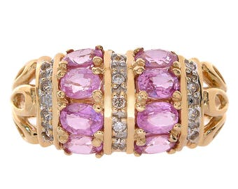 1.00 Carat Pink Sapphire & 0.12 Carat Diamond Ring 14K Yellow Gold