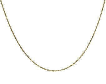 """Cable Link Chain 18K Yellow Gold Over Sterling Silver 18"""" Made In Italy"""