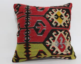 16x16 Geometric Pattern Kilim Pillow Decorative Pillow 16x16 Bohemian Kilim Pillow Floor Pillow KilimCushion Cover  SP4040-2487