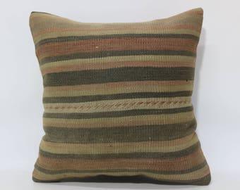 20x20 Decorative Kilim Pillow Sofa Pillow Boho Pillow 20x20 Striped Kilim Pillow Handwoven Kilim Pillow Cushion Cover SP5050-2132
