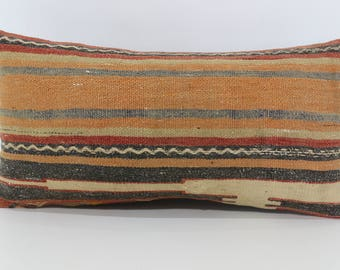 Stripe Kilim Lumbar Pillow Cover 12x24 Home Decor Turkish Kilim Pillow,Decorative Pillow,Boho Pillow,Bed Pillow SP3060-1026
