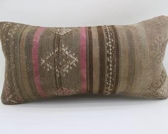 10x20 patterned kilim pillow striped kilim pillow decorative kilim pillow lumbar pillow brown kilim pillow home decor SP2550-1578