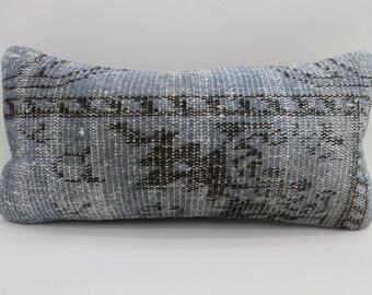 12x24 Handwoven Throw Pillow Black Striped Pillow Blue Pillow 12x24 Turkish Carpet Pillow Floral Pillow Cushion Cover Home Decor SP3060-1706
