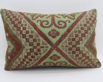 16x24 Pillow Cover Green Pillow Floral Pillow 16x24 Burgundy Kilim Pillow Geometric Kilim Pillow Throw Pillow Cushion Cover SP4060-1279