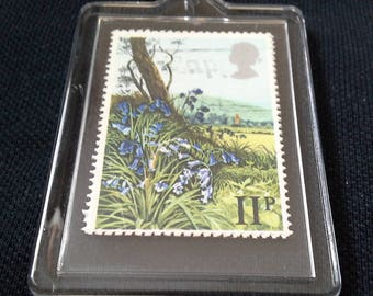 Key ring with 2 royal mail stamps flowers