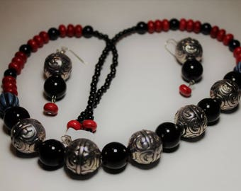 Silver ball beaded necklace and earring set