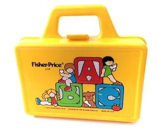 Vintage 1979 Fisher Price ABC School Lunch Box Yellow #638 Lunchbox Storage 70s Original Retro Classic Toys Lunchbox Lunch Pail Storage Bin