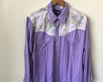 1970's Western Wear Men's 70's Vintage Floral Purple Snap Button Ranchwear Shirt by Monticello