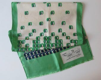 MAGGY ROUFF SCARF - Vintage green, cream and blue silk scarf from the 1960's