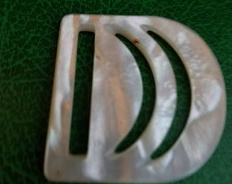 Art Deco handcarved mother of pearl buckle