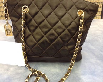 Vintage Chanel Rue Cambon Tote Navy Lambskin