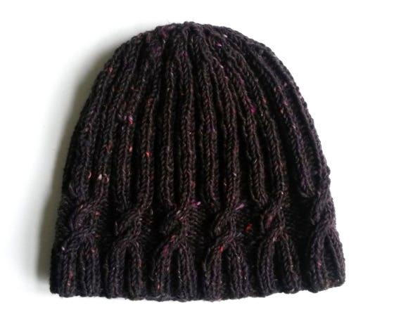 Cable knit beanie in luxury purple black tweed Irish wool. Handknit hat. Made in Ireland. Aran cable hat. Original design. Men's beanie.