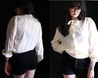 vintage 70's - 80's cream puffy sleeve boho pirate blouse • women's bohemian style button up high neck top • off white button down
