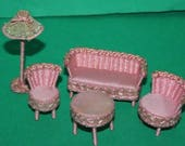 Vintage Dolls House Woven Lounge Suite Table  Lamp Small Scale