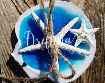 Beach Wedding Scallop Shell Decor, Discounted, Ring Bearer Pillow Alternatives, Glitter Shell Ring Holder, Beach Wedding Flower Girl