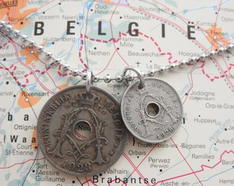 Belgium 1928 duo coin necklace - made of original coins from Belgium - birth year - Brussels