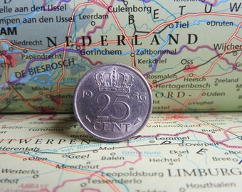 Dutch quarter coin ring in your birth year 1960 - 1961 - 1962 - 1963 - 1964 - 1965 - 1966 - 1967 - 1968 - 1969 nickel free