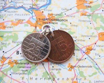 Netherlands coin pendant in birth year incl necklace 1990 - 1991 - 1992 - 1993 - 1994 - 1995 - 1996 - 1997 - 1998 - 1999 - 2000