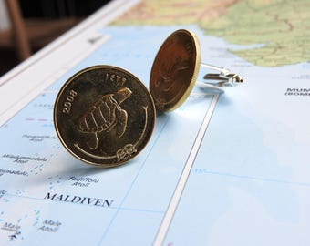 Maldives coin cufflinks - 3 different designs - made of original coins - Turtle - sailboat - palmtree - fernweh