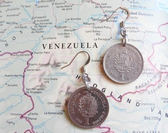 Venezuela coin earrings - 2 different designs - made of original coins - south America - travel gift - wanderlust