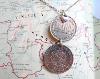 Venezuela coin necklace - 2 different designs - made of original coins - South America - travel present