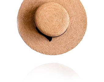 Straw wide Sun hat - Brim 3.5inches, Customized, Personalized Summer Hat, any custom line
