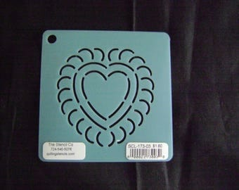 Sashiko Japanese Embroidery Stencil 3 in. Heart Motif Block/Quilting