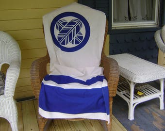 Vintage Furoshiki Large Fabric with Blue Stripes and Circled Emblem on White Background/ Table Cloth, Wall Hangings, Craft Supplies