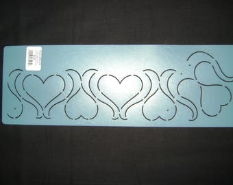 Traditional/Sashiko Quilting/Embroidery Stencil 3 in. Continuous Heart Motif Border/Quilting