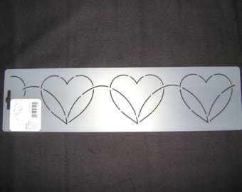 Traditional/Sashiko Quilting/Embroidery Stencil 3 in. Continuous Dancing Hearts Motif Border/Quilting