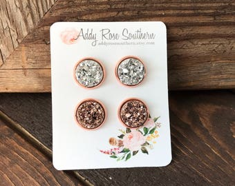 12mm rose gold druzy stud set, druzy studs, druzy earrings, rose gold druzy, bridesmaids earrings