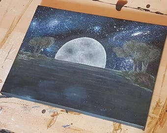 "Hand painted canvas - Moon Set - 12"" x 9"""