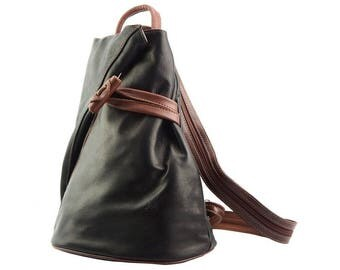 Italian Leather Backpack Purse Shoulder Bag Handcrafted In Florence Italy in Black & Brown 2062