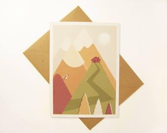 Postcart / mountain illustration / mountain with hiker