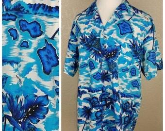 Vintage blue and white island scene Hawaiian shirt