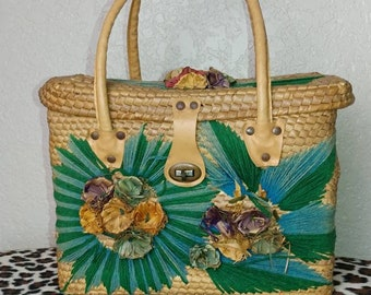 Vintage Woven Basket Purse with Flowers and Leaf Detail