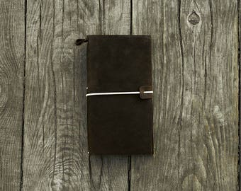 Leather notebook - Travelers notebook - travel diary - blank notebook - leather sketchbook - writing journal - journal notebook