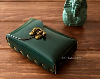Tarot leather case, tarot bag, leather pouch, green, divination tools, tarot, card holder, playing cards, tarot box, leather bag