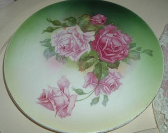 Antique plate with roses