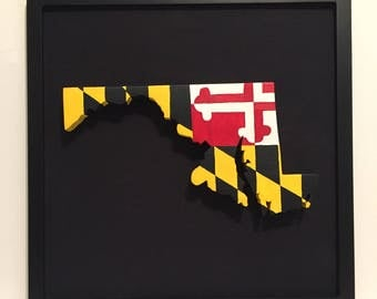 3D  Wooden, Maryland State, Flag, Hand Painted,and Framed Wall Decoration