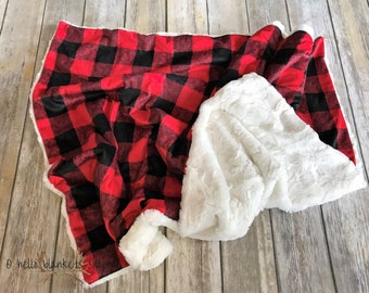 Buffalo Plaid Blanket- Minky Baby Blanket- Baby Boy Blanket-Lumberjack blanket- Lumberjack Nursery- Plaid- Woodland Nursery