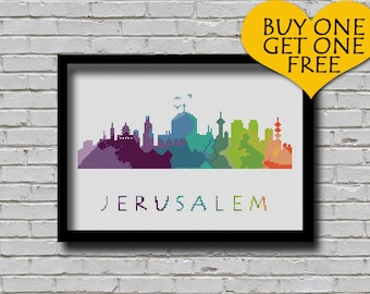 Cross Stitch Pattern Jerusalem Silhouette Watercolor Painting Effect Middle East Cities Modern Design City Skyline Xstitch