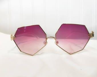 Magenta Heptagon Hands Sunglasses
