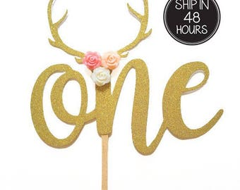 1 pc flower roses deer antler ONE bohemian tribal native Theme Gold Glitter Cake Topper for first Birthday Baby girl boy Party